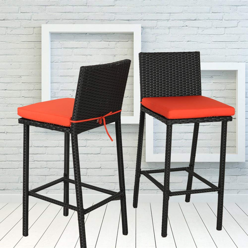 Leaptime Patio Stools Rattan Furniture Dining Set Rattan Chairs PE Wicker Bar Set Stools Set Garden Outdoor Chairs(2pcs, Black Rattan+Orange Cushion)