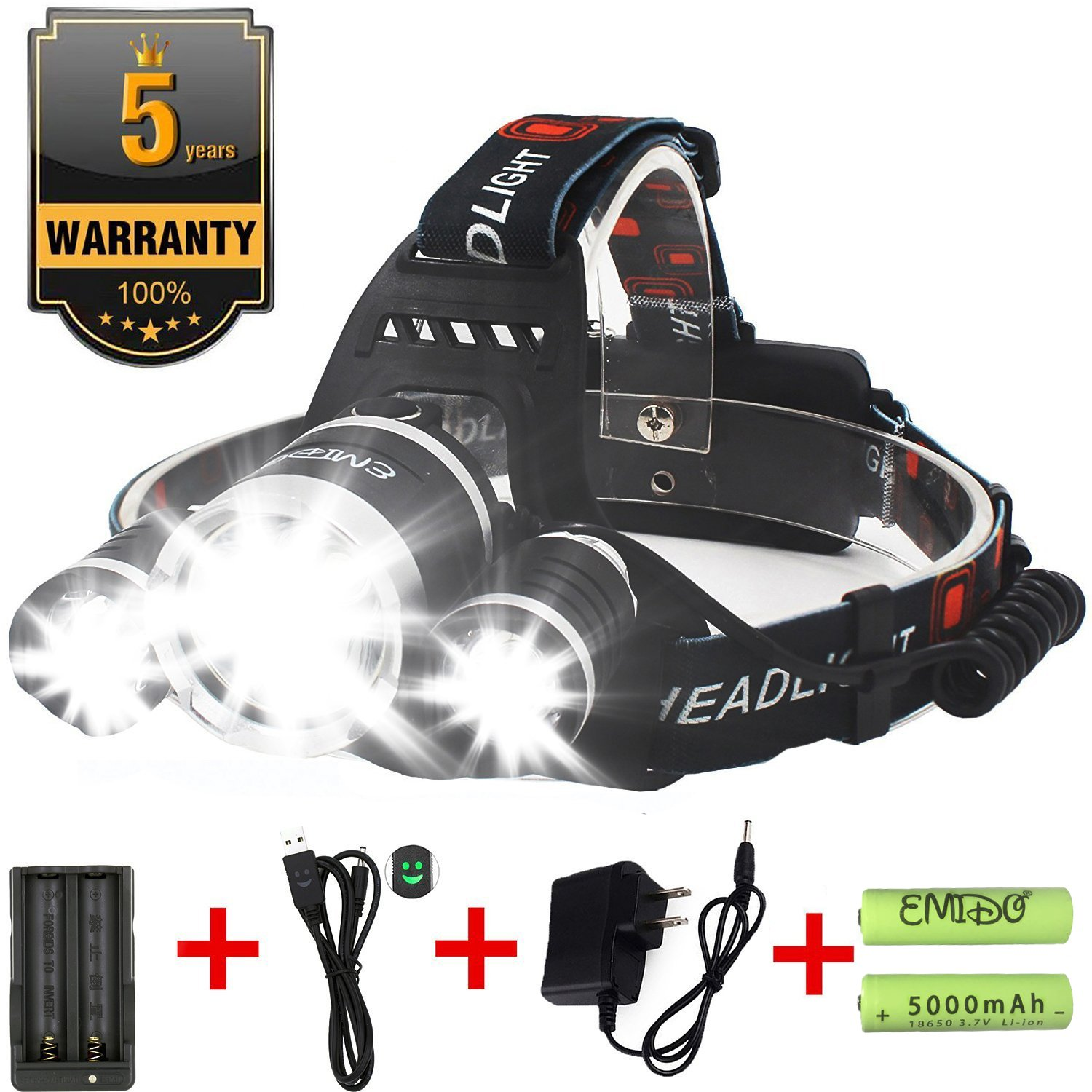 EMIDO LED Headlamp, 4 Modes LED Head Torch, 18650 Rechargeable Batteries Headlight Hard Hat Light Flashlight, for Reading Outdoor Running Camping Fishing Walking Hiking Riding