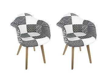 Juego de 2 sillones de patchwork blanco y negro - Diseño ...