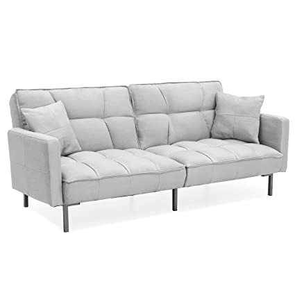 Amazon.com: Grey Convertible Futon Linen Tufted Versatile ...