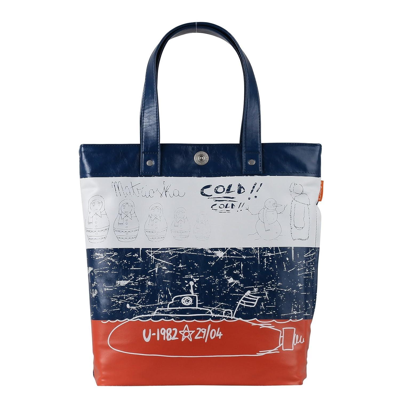 Tote bag, shoulder bag, handbag, shopper, schoolbag, Theme flag Russia Leather vegan Blue A4 Uni Style A100015