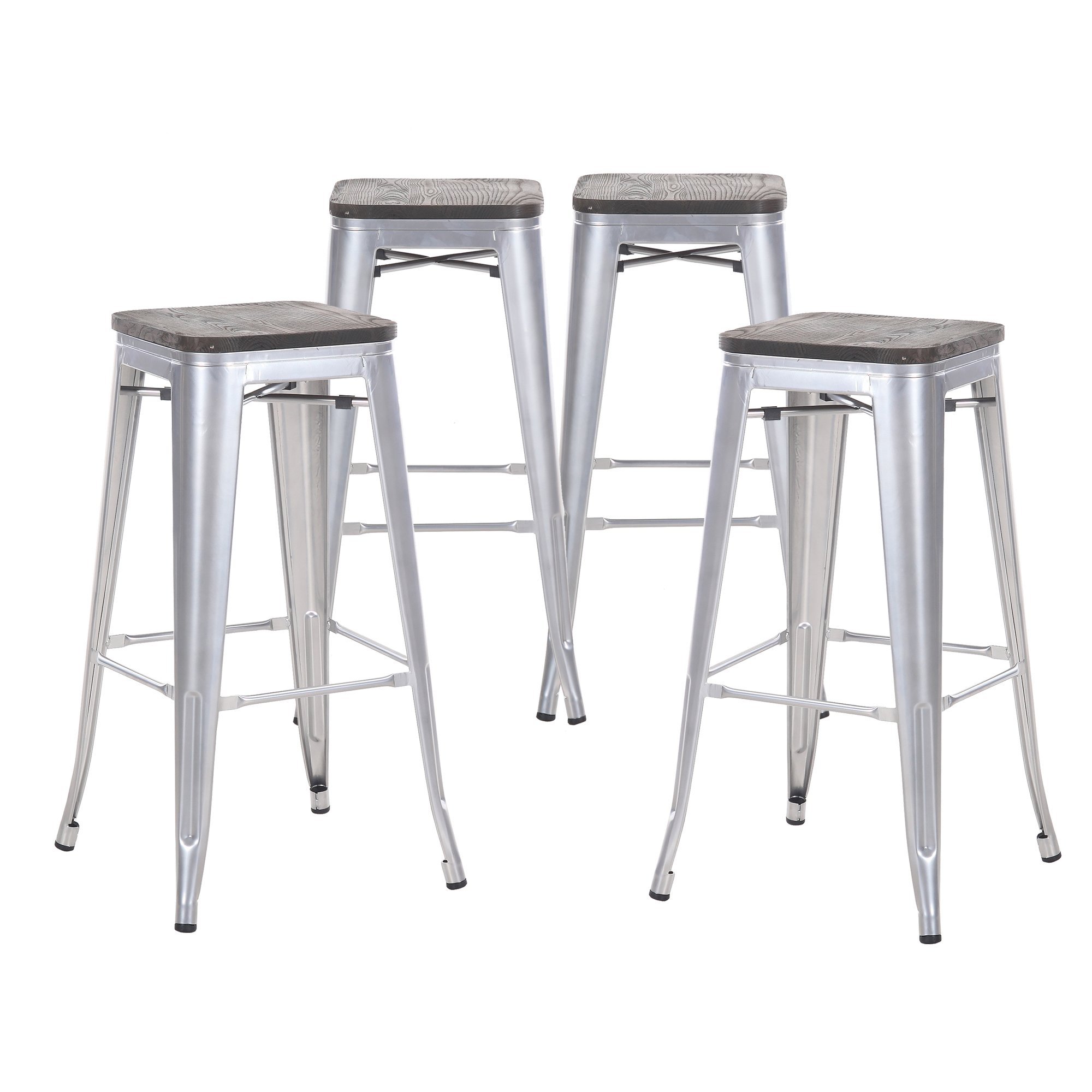 Buschman Set of Four Gray Wooden Seat 30 Inches Counter Height Tolix-Style Metal Bar Stools, Indoor/Outdoor, Stackable