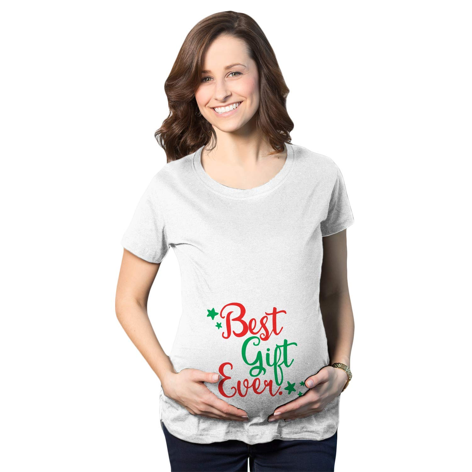 dd37d3c29 Amazon.com: Maternity Best Gift Ever T Shirt Funny Present Bump Pregnancy  Tee for Women: Clothing