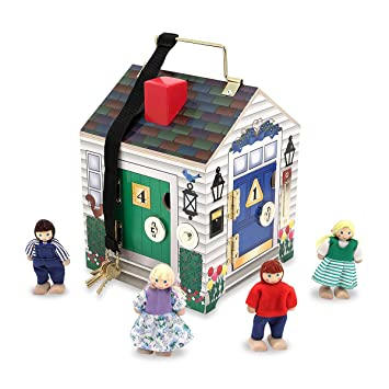 Melissa & Doug Take-Along Wooden Doorbell Doll's House
