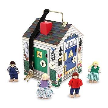 Melissa & Doug Take-Along Wooden Doorbell Doll's House