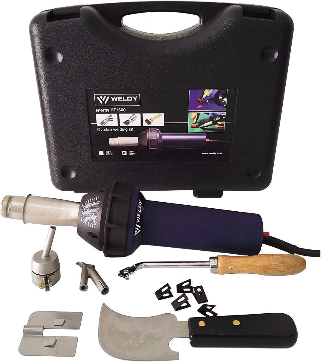 Weldy - Kit de herramientas profesionales de soldadura para suelos con pistola de aire caliente, pistola soldadora de plástico, soldador 1600W