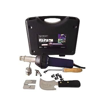 Weldy - Kit de herramientas profesionales de soldadura para suelos con pistola de aire caliente, pistola soldadora de plástico, soldador 1600 W: Amazon.es: ...