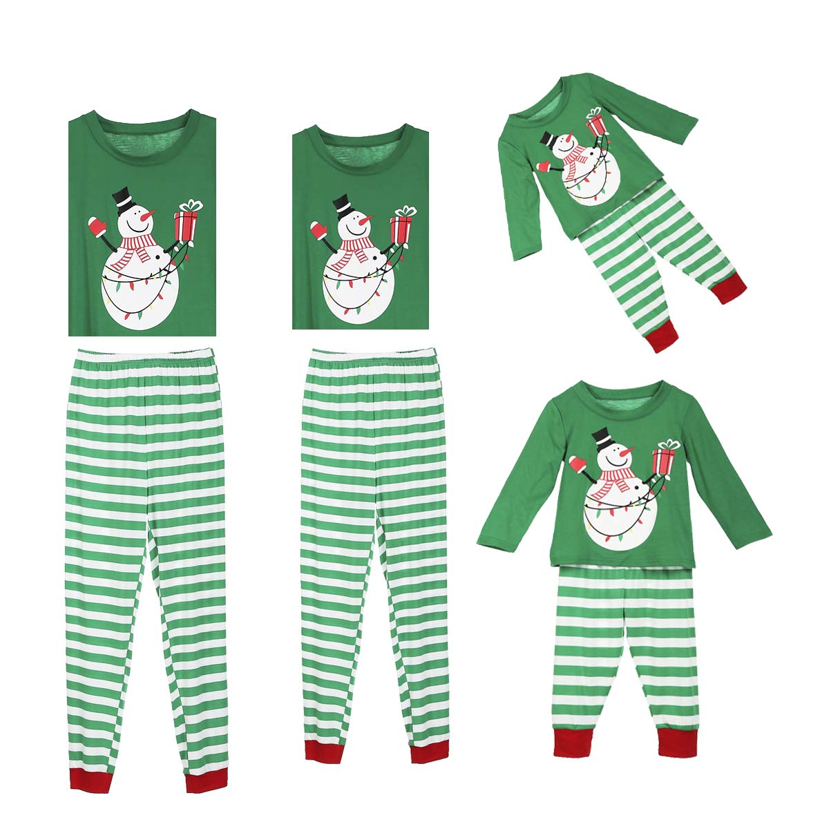 douleway Pyjama de Noël Famille, Vêtements de Nuit Costume Coton à Manches Courtes Chemises + Pantalons Longs Sweat Hiver Sweat de Noël Printemps pour Hommes Femmes Enfants Christmas family matching