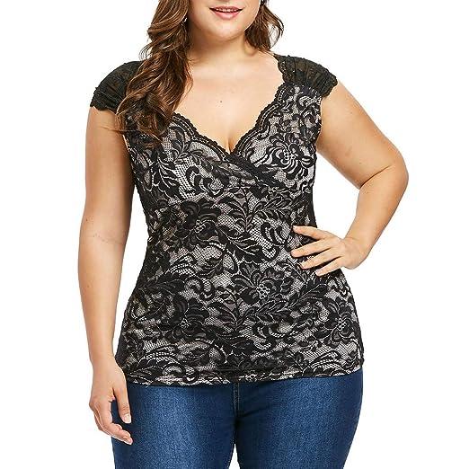 2beb1160fe9e07 Uscharm Plus Size Sleeveless Blouse Fashion Womens Lace Floral Camisole V-Neck  Sleeveless Vest Tanks