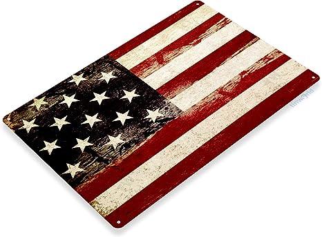 "TIN SIGN /""American Flag Rustic/"" Patriotic Garage Wall Decor"