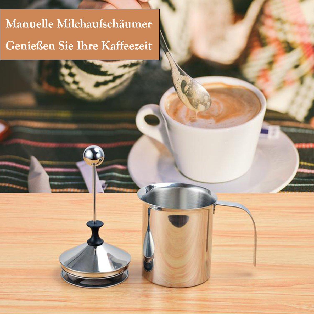 Milchaufschaeumer Manuell, 500ML Milchaufschäumer Edelstahl Mit ...