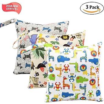 3 Pack bebé pañal seco y húmedo Toalla bolsillos impermeable reutilizables con bolsillos de cremallera, 11 x 11,8, animales, 3 Pack, Animal2, 3: Amazon.es: Industria, empresas y ciencia