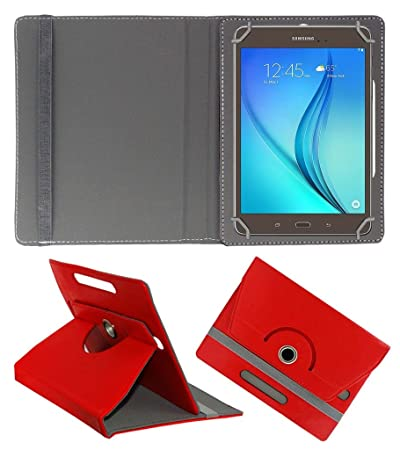 Acm Rotating 360 Leather Flip Case Compatible with Samsung Galaxy Tab A T355y Cover Stand Red Tablet Bags, Cases   Sleeves