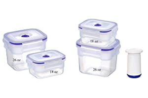 Vacuum Seal Food Storage Containers Set - Deep Freezer Food Sealer - Hand Held Vacuum Food System - Quick Marinator - Rectangle - 9Pc