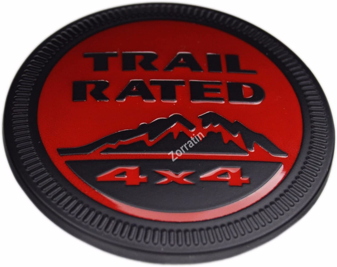 zorratin Metal Trail Rated 4x4 Round Emblem Badge Decal for Jeep Wrangler Unlimited JK Cherookee Rubicon Liberty Patriot Latitude