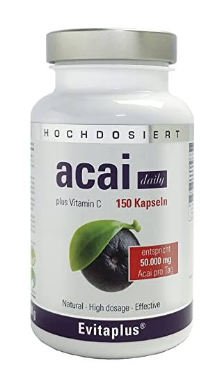 Acai DAILY Acai Berry 50.000 mg, 150 capsule, ahora con la máxima concentración de 30:1 de extracto.: Amazon.es: Salud y cuidado personal