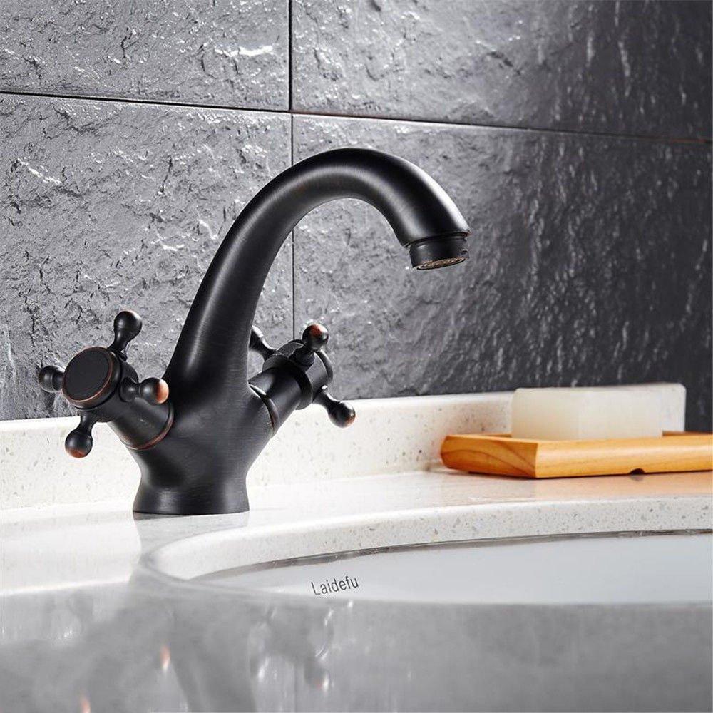 SADASD European Style Bathroom Basin Faucet Copper Black Antique Single-Type Washbasin Sink Taps Ceramic Valve Single Hole Single Handle Hot and Cold Mixer Tap With G1 2 Hose