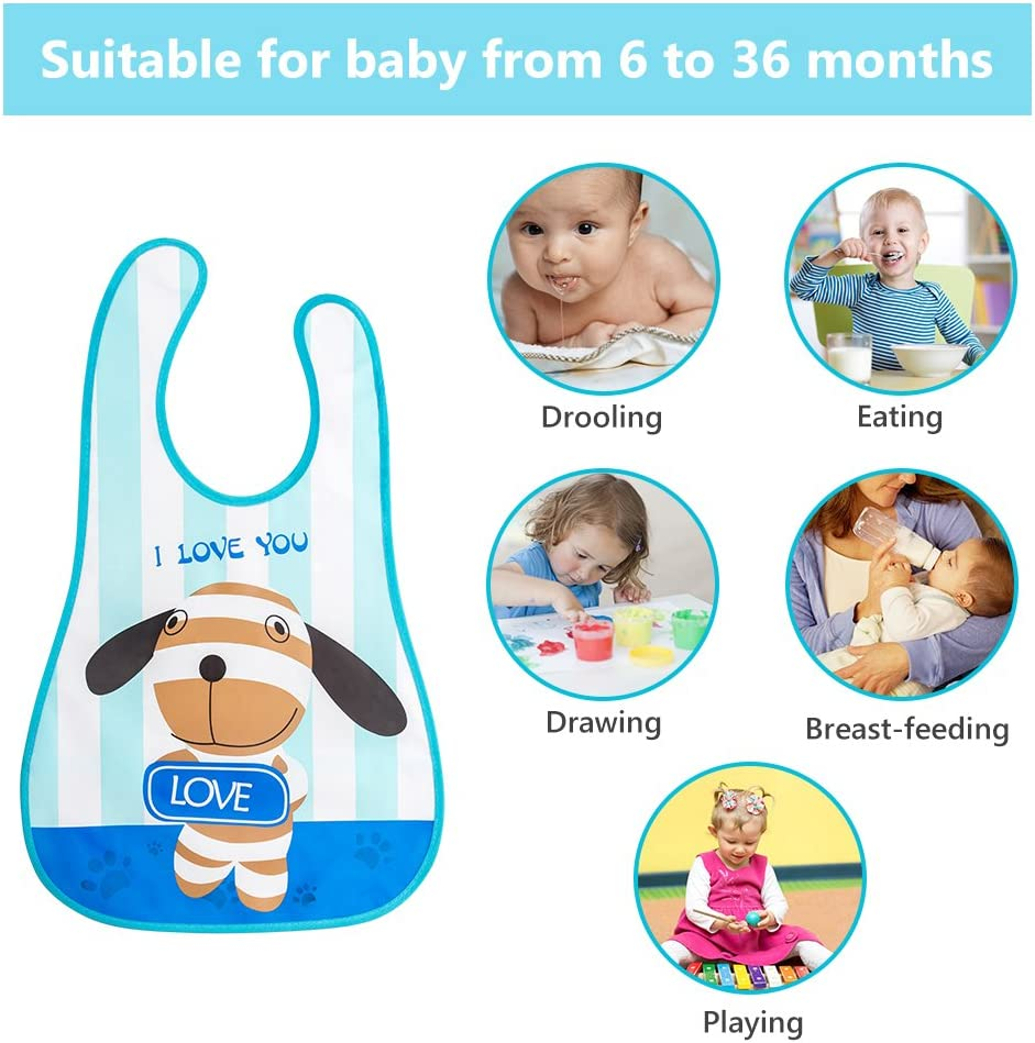 10 Piezas Baberos Impermeable Babero Plastico para Unisex Beb/é de 6 a 36 Meses Baberos Bebe Recien Nacido