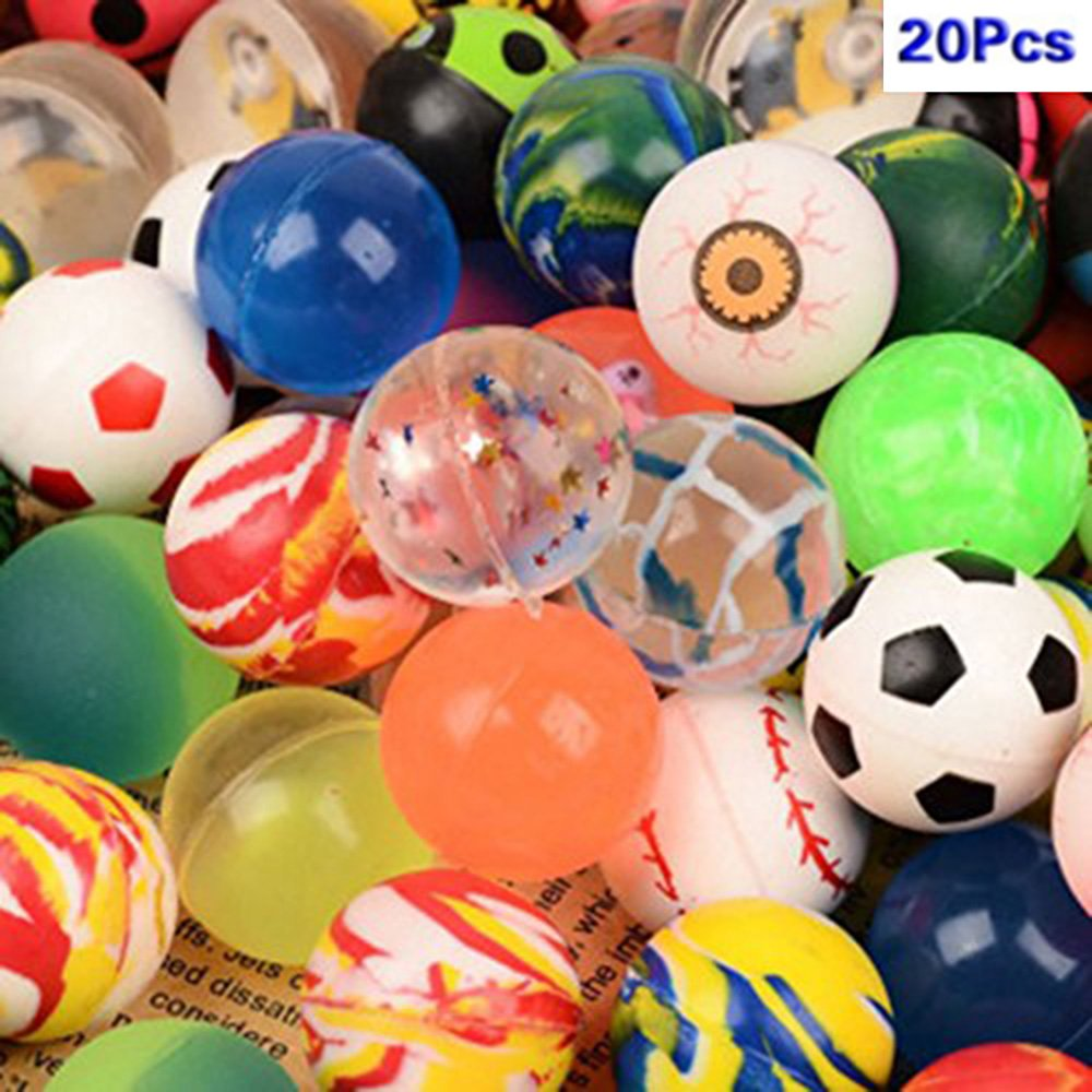 20 Pcs Bouncing Bouncy Balls Bulk Set, Assorted Colorful Neon Mixed Pattern Designs for Kids Playtime, Party Favors, Prizes, Birthdays & More, 1.25 Inches JH