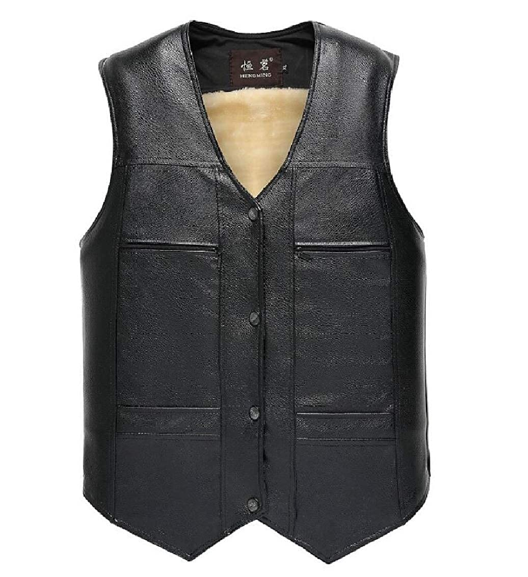 Hokny TD Mens Tops Buttons Thick Solid Fleece Faux-Leather PU V-Neck Vest
