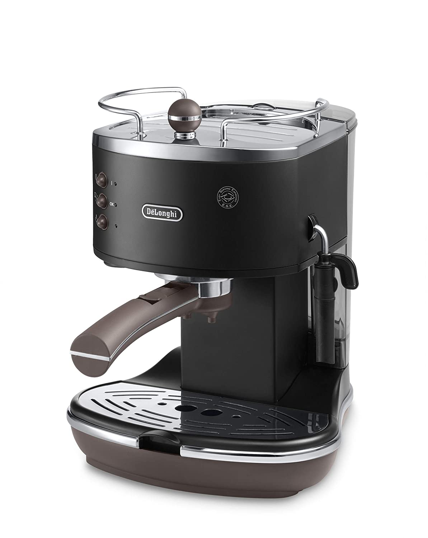 DeLonghi ECOV311.BK Cafetera Espresso Vintage Icona, Independiente, Semi-autom?tica, 1050 W, 1.4 L, 15 bares, color negro