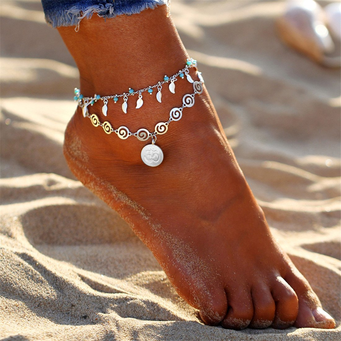 Yesiidor Bohemian Yoga Anklet With Turquoise Leaves Tassels Pendant Vintage Retro Bead Anklet Beach Sandal Barefoot Anklet Bracelet Foot Jewelry