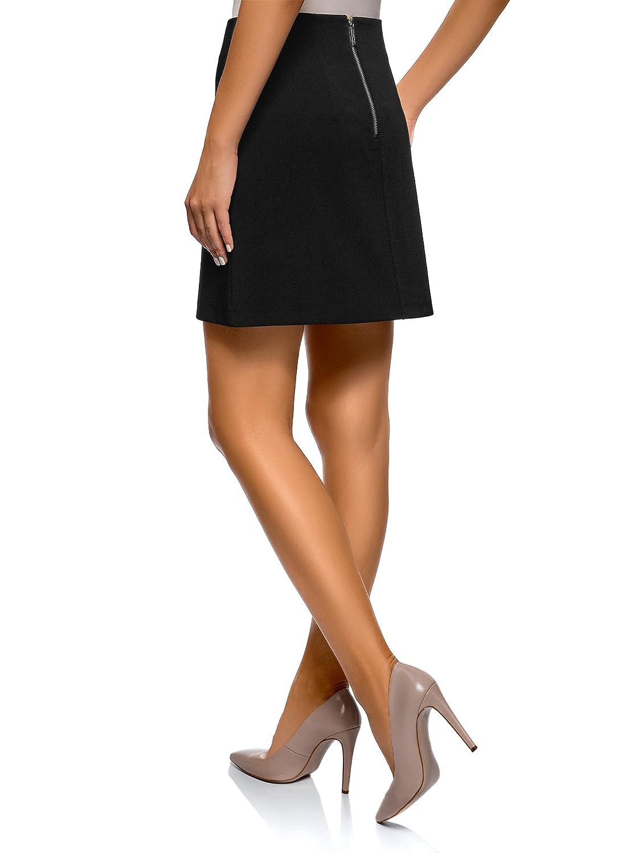 oodji Ultra Mujer Falda Trapecio con Bolsillos Decorativos