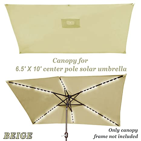 0c325afc3d30 Strong Camel Replacement Umbrella Canopy for 10ft x 6.5 ft 6 ribs Patio  Umbrella Top Cover Outdoor Market (Canopy Only) (Beige)