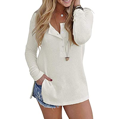 VYNCS Womens Casual Long Sleeve Button Down Henley Blouse Pullover Knit Loose Leisure Stylish Knit Sweaters Tops at Women's Clothing store