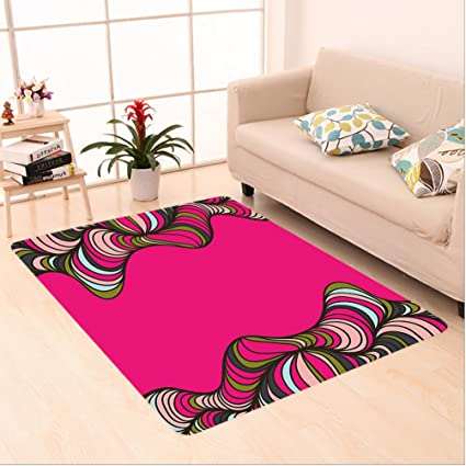 Amazon.com: Nalahome Custom carpet Wavy Psychedelic Borders ...