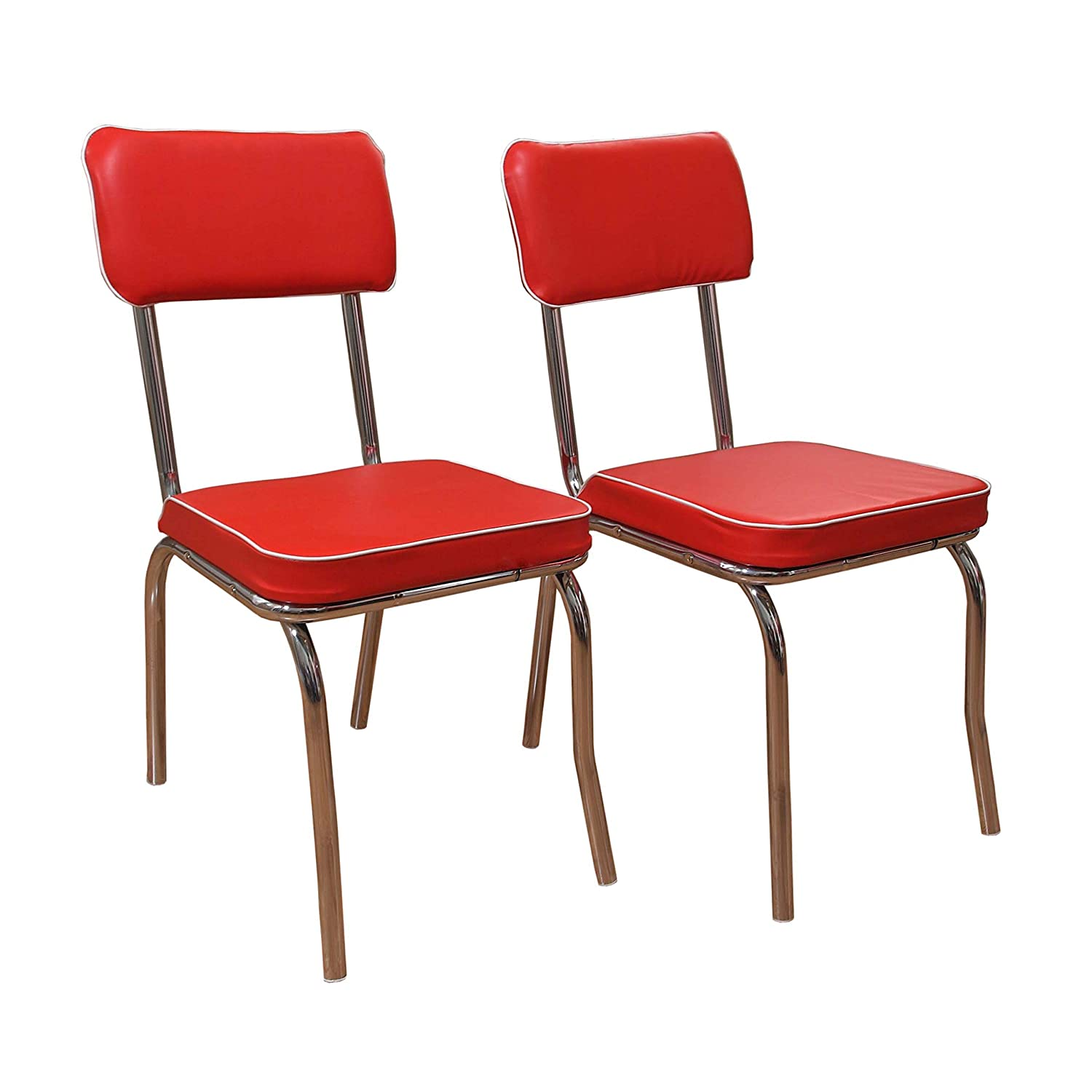Target Marketing Systems Set Of 2 Retro Upholstered Vinyl Dining Chairs With Chrome Accents Red