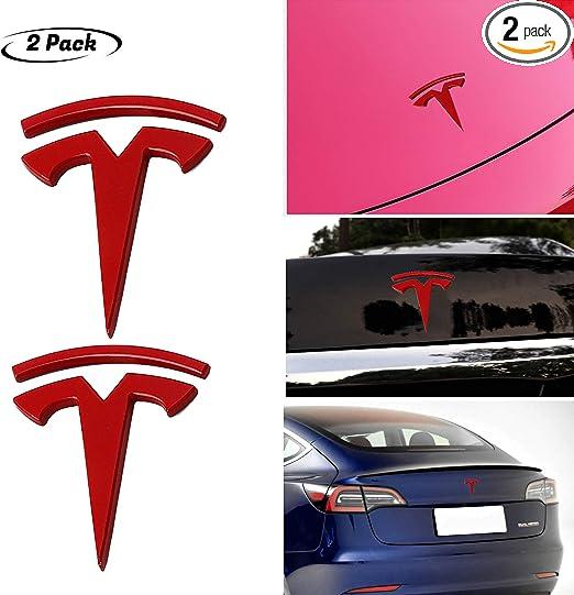 Silver 2pc for Tesla 3D Logo Metal Emblem Car Side Window Badge Fender Rear Trunk Emblem Sticker Decals For Model 3 S X TESLASUV Decorative
