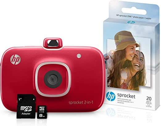 HP Sprocket 2-in-1 Portable Photo Printer & Instant Camera Bundle with 8GB MicroSD Card and Zink Photo Paper (Renewed) (Red)
