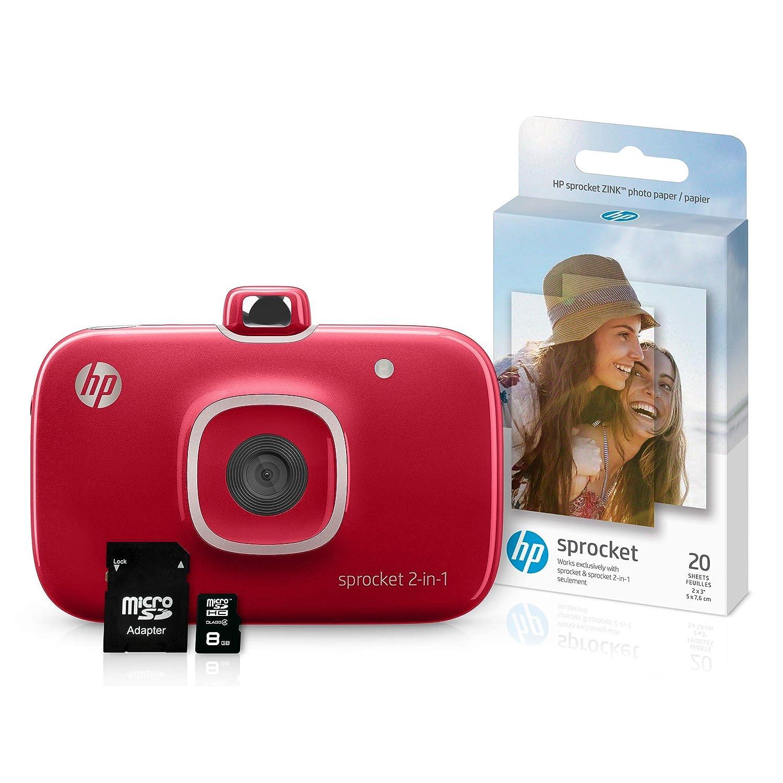 HP Sprocket Impresora de Fotos portátil 2 en 1 y Paquete de cámara ...