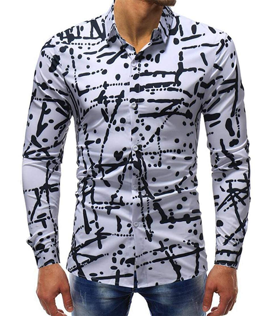 Rrive Men Autumn Plus Size Print Lapel Regular Long Sleeve Dress Shirt