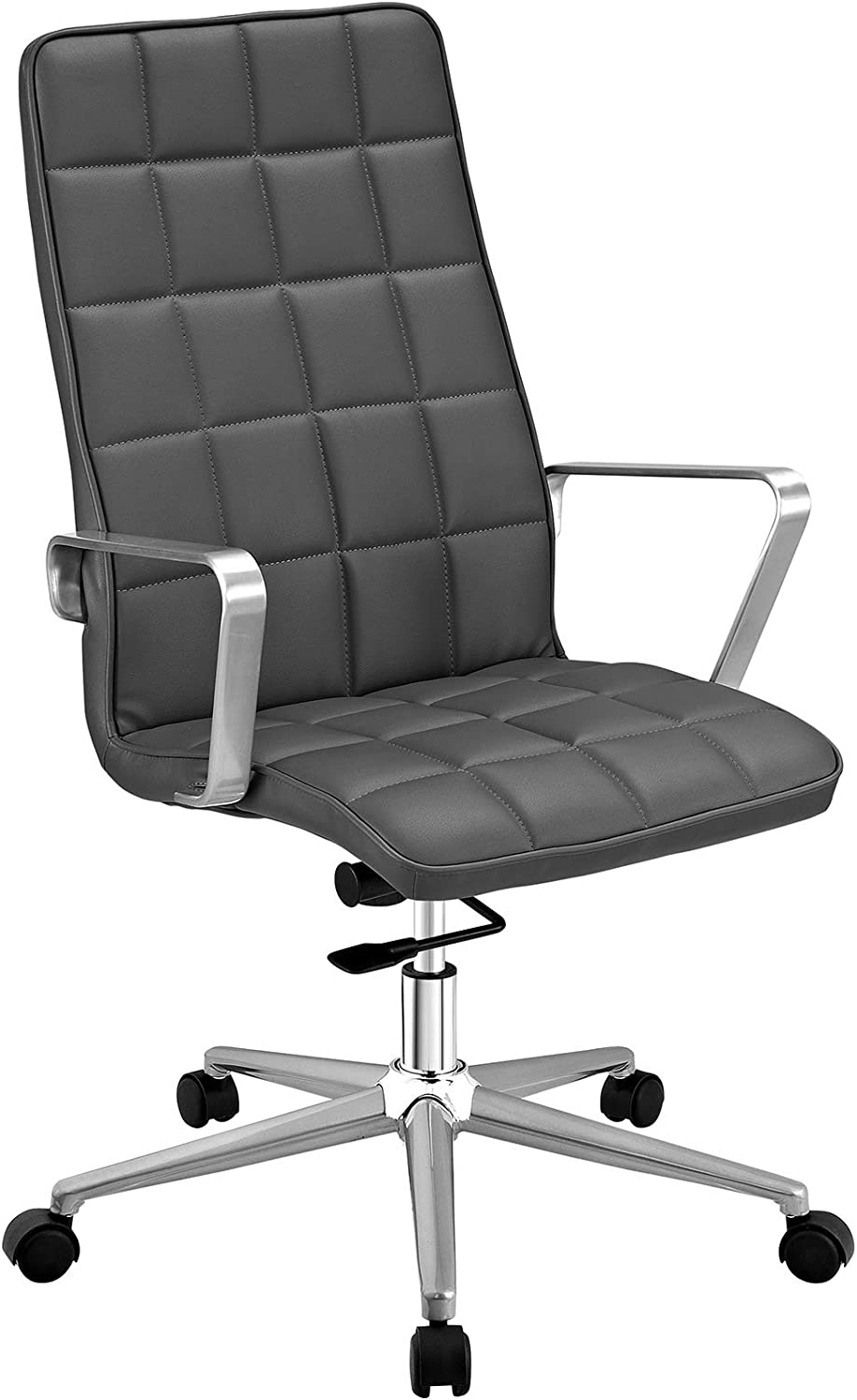 Modway Tile Square Stitched Faux Leather High-Back Office Chair in Gray