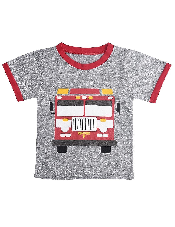 CM-Kid Boys Pyjamas Dinosaur Nightwear Cotton Toddler Clothes Kids Sleepwear Summer Short Sleeve Pjs Sets 2 Piece Outfit for Age 1-7 Years