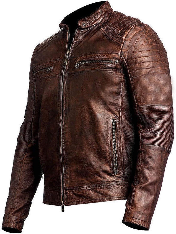Mens Cafe Racer Brown Vintage Biker Classic Motorcycle Brown Real Leather Jacket