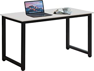 "Halter Computer Desk 47"" Home Office Simple Moderm Sturdy Design White Desk and Black Metal Frame Writing Desk for Small Spaces"