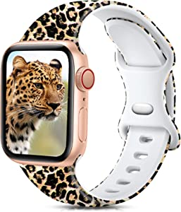 Ouwegaga Compatible with Apple Watch Band 42mm 44mm iWatch SE Series 6 5 4 3 2 1 Bands for Women Men,Fadeless Soft Silicone Floral Printed Pattern Wristbands Straps Classic Leopard,S/M