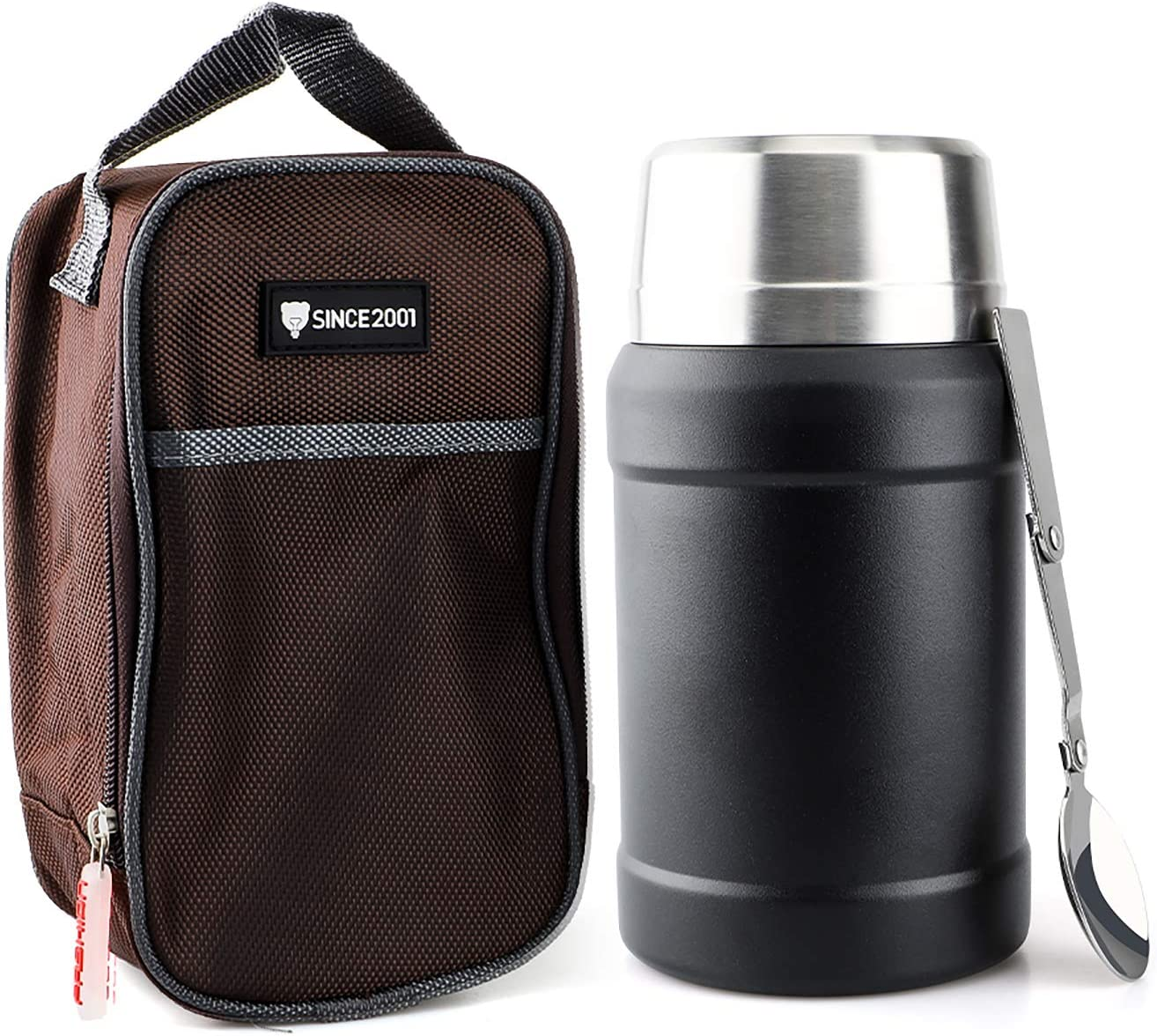 OKADI Insulated Food Thermos - 27oz Stainless Steel Food Jar with Folding Spoon - Double Wall Vacuum Insulated Powder Coating Soup Flask with Portable Insulated Bag
