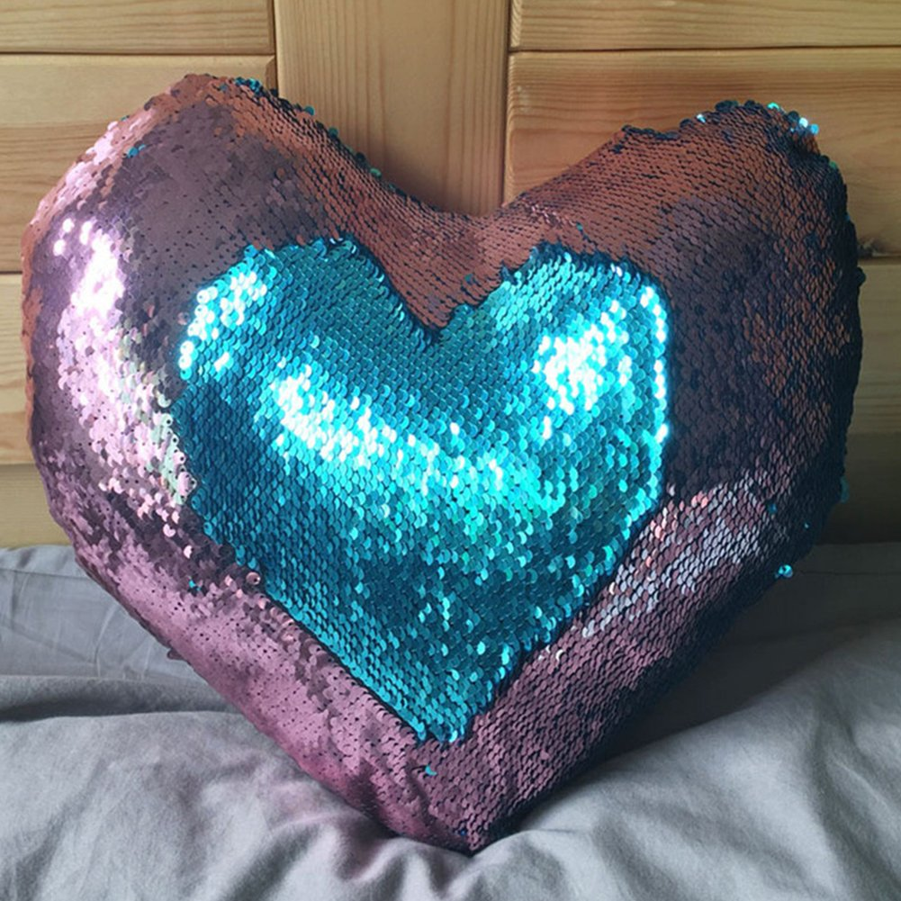 Heart Shape Sequin Pillow with Insert Mermaid Reversible Color Change Throw Shiny Two Color Flip Cushion Magic Write On Girls Gift Bolster for Sofa Couch Bedroom Car 14'' x 15.5'',Blue and Pink by URSKYTOUS (Image #9)