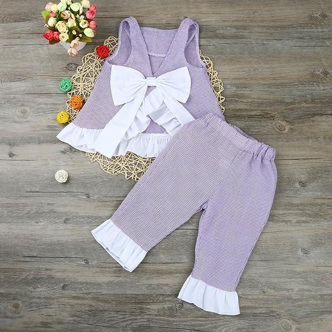 0bc6fd0ef3 Amazon.com  WensLTD 2PCS Kids Baby Girls Cute Bow Vest Top + Shorts Pants  Clothes Outfits (4T
