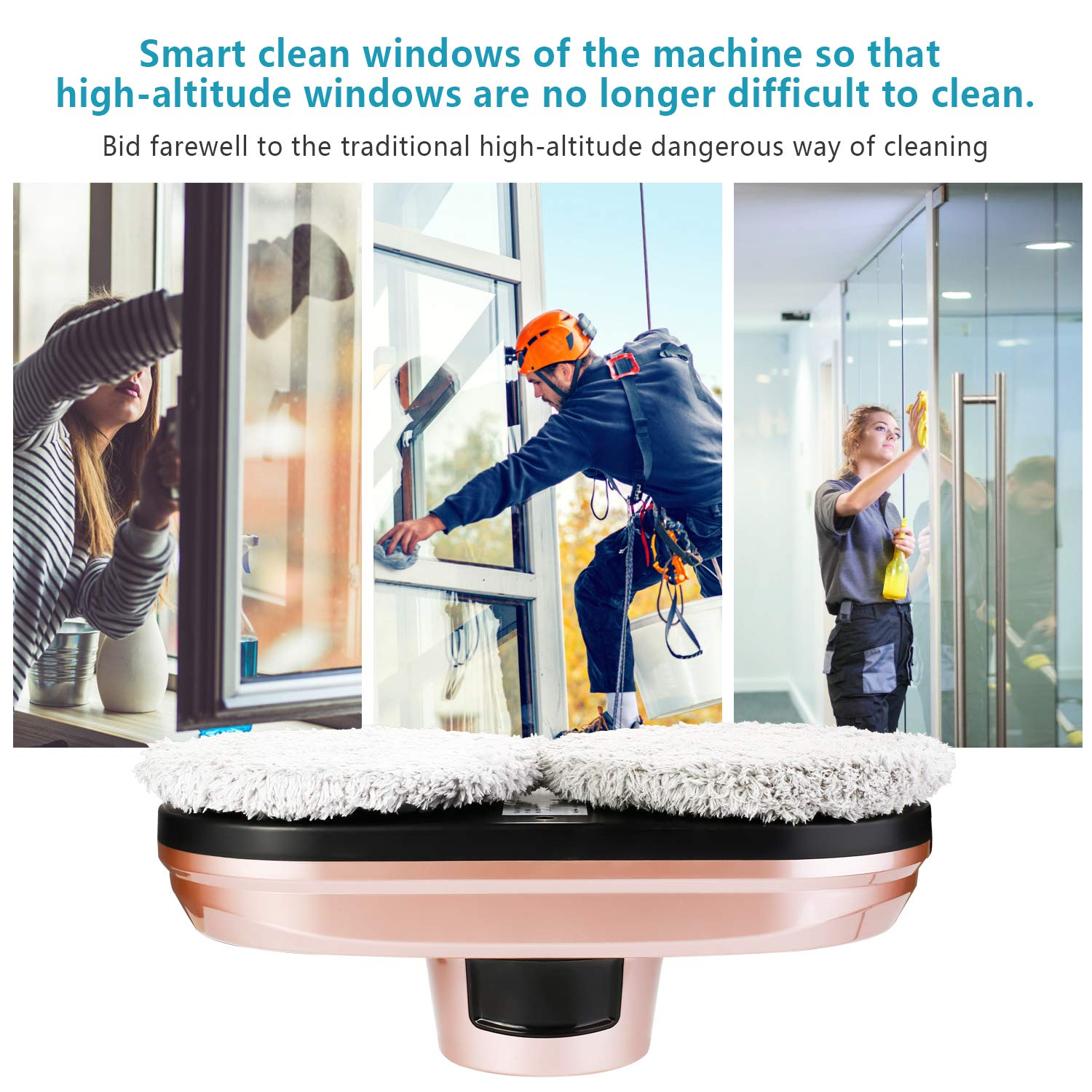 D1D9 Windows Glass Cleaner Robot Automatic Magnetic Vacuum Cleaner with Safety Rope Smart Glass Cleaning Tools for Inside Outside Remote Control by D1D9 (Image #3)