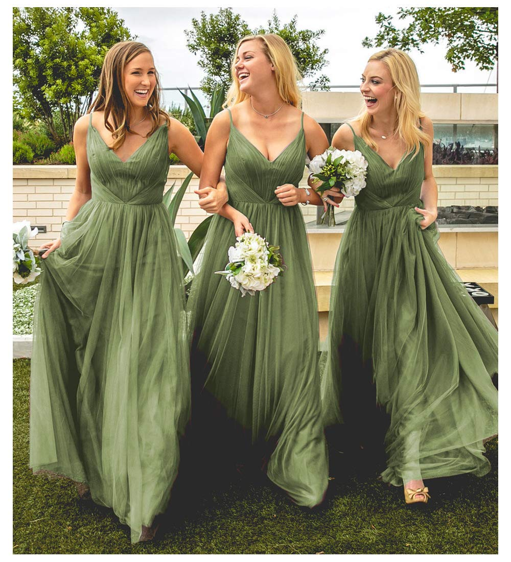 Super discount great prices exquisite craftsmanship Sage Green Tulle Wedding Bridesmaid Dresses V-Neck A-Line Long Formal  Evening Party Dress for Women