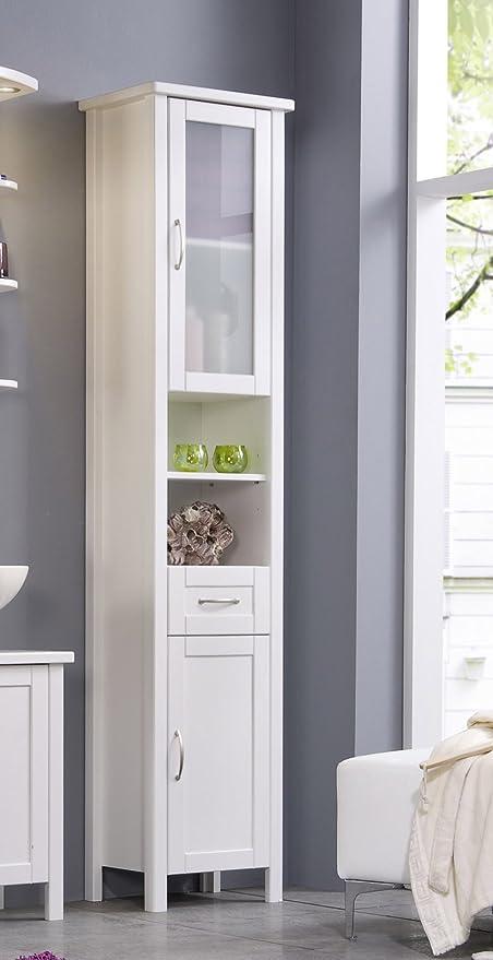 SAM® Badezimmer Badmöbel Hochschrank Valencia in weiß lackiertem  Kiefernholz, genügend Stauraum für Ihre Badutensilien, Türen beidseitig  montierbar