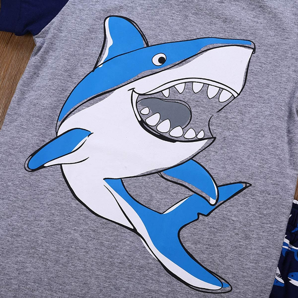 1-7T Boys Shark Print Cotton Short Sleeve T-Shirt /& Shorts Sleepwear Pajamas Set