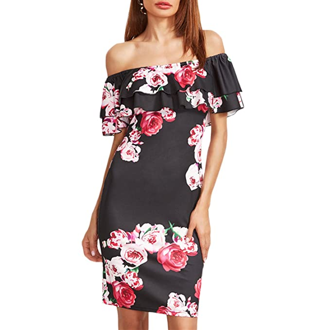 58c11d0620c Sasairy Womens Summer Off Shoulder Ruffle Dress Floral Print Bodycon Mini  Dress at Amazon Women s Clothing store
