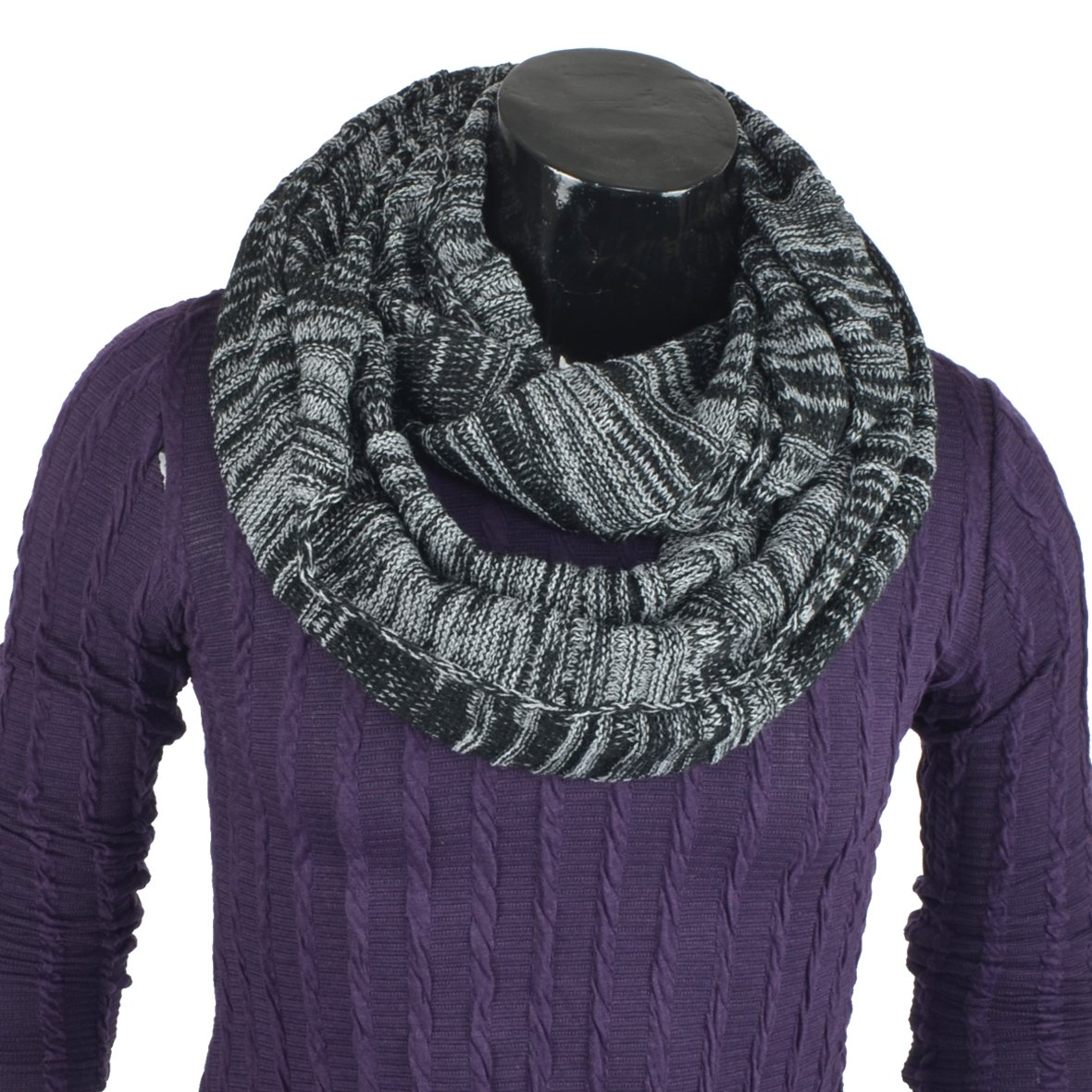 DGrey/&Black Mens Infinity Scarf Knit Soft Warm Thick Neck Gaiter Winter Scarves