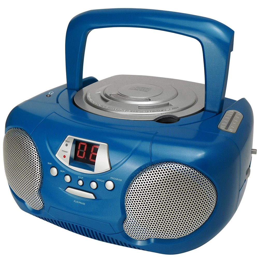 Importado Reproductor de CD, Radio FM//Am, Conector 3.5 mm Radio Cassette Azul Groove GVPS713BE